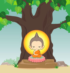 Buddha sitting on lotus flower under tree vector image vector image