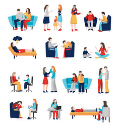 family psychologist characters set vector image vector image