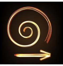 Fire-show style arrow sign and spiral vector image vector image