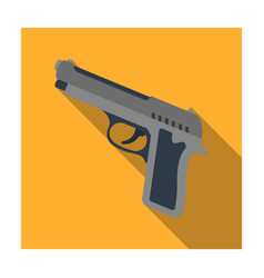 handgun icon in flat style isolated on white vector image