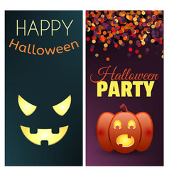 happy halloween and halloween party banners set vector image