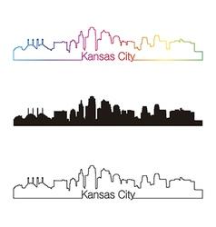Kansas city skyline linear style with rainbow vector