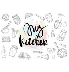 my kitchen related quotes set poster vector image