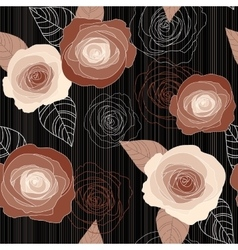 Seamless roses pattern on black background vector image vector image