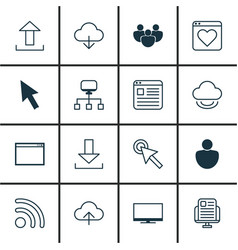 set of 16 world wide web icons includes mouse vector image