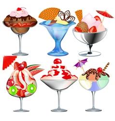 set of fruit ice cream vector image