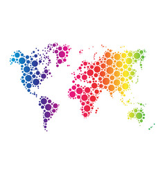 world map wallpaper mosaic of dots in rainbow vector image