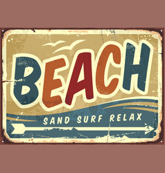beach sign retro background vector image vector image