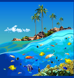cartoon underwater world near a tropical island vector image