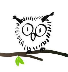 charming owl hand drawing vector image