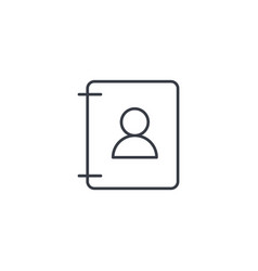 contacts address book thin line icon linear vector image