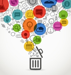Different icons flows into open garbage basket vector image