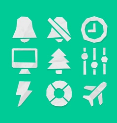 Paper Cut Icons Applications Set 6 vector image vector image