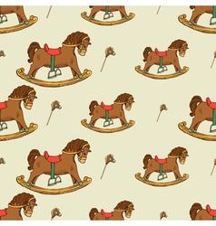 Rocking horse seamless pattern vector image
