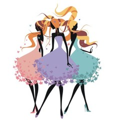 Three silhouette girls with tangled hair vector image vector image