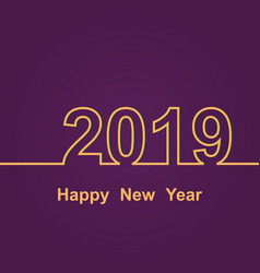 2019 happy new year on purple background vector image
