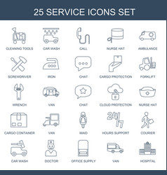 25 service icons vector