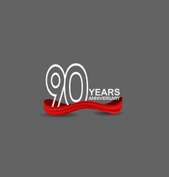 90 years anniversary line style white color vector