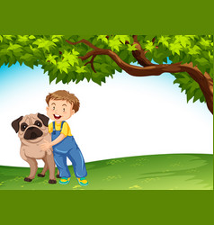 a boy and dog in nature vector image