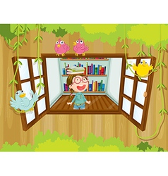 A girl at the tree house with books above her head vector