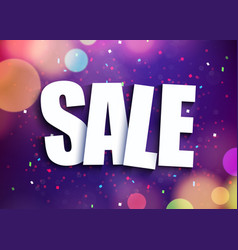 Abstract sale banner purple background with light vector
