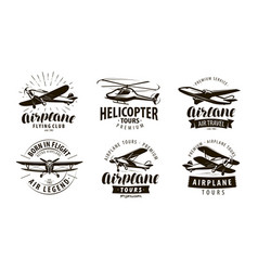 aircraft airplane helicopter logo or icon vector image