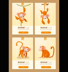 Animal banner with monkeys for web design 1 vector