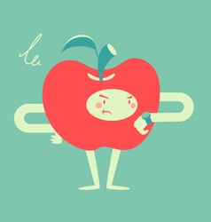Apple Character Looking at a Watch vector