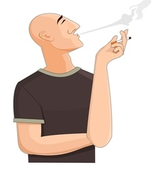 Bald man exhaling the cigarette smoke vector image vector image