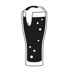 black and white beer glass silhouette vector image
