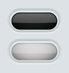 black and white oval push buttons normal and vector image
