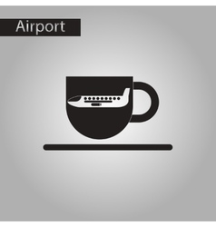 Black and white style icon plane cup vector