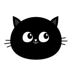 black cat head round face icon cute cartoon vector image