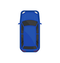Blue car top view city vehicle transport vector