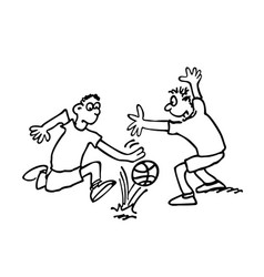 boys are playing football outlined cartoon vector image