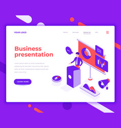 Business presentation people and interact with vector