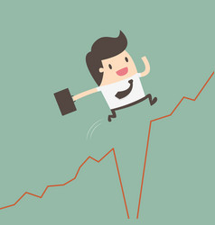 Businessman jumps over gap in growth chart vector
