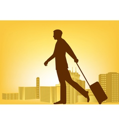 Businessman walking with luggage vector