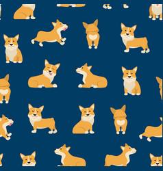 cartoon characters welsh corgi seamless pattern vector image
