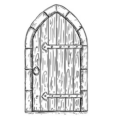 Cartoon drawing of wooden medieval door closed or vector
