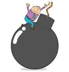 Cartoon man with bomb vector