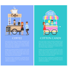 Coffee shop and cotton candy kiosk cute templates vector