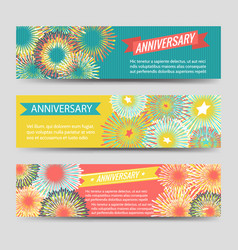 Colorful anniversary banners with fireworks vector