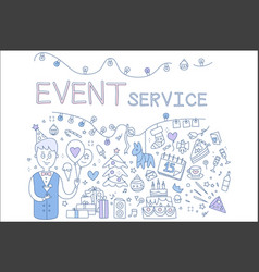 Creative line for event service vector