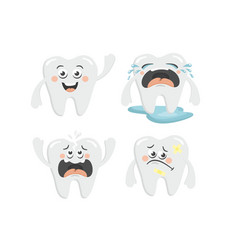 Cute collection of cartoon tooth chatacters for vector