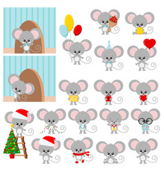 Cute mouse set isolated on white background vector