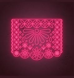 decorative papel picado card in neon style vector image