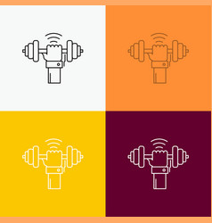 Dumbbell gain lifting power sport icon over vector