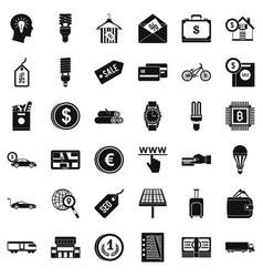Economy icons set simple style vector