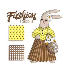 Elegant fashion bunny rabit in pleated skirt vector